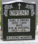 Headstone: Earl Owens and his wife Eva Quesnel