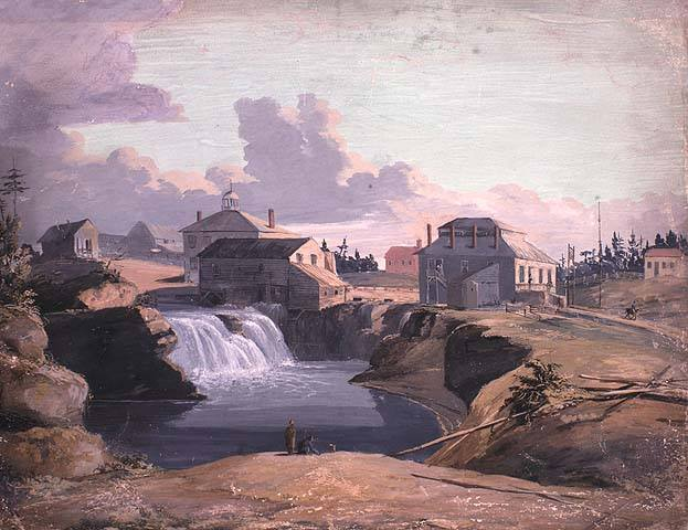 Mill and tavern of Philemon Wright at Chaudière Falls, 1823