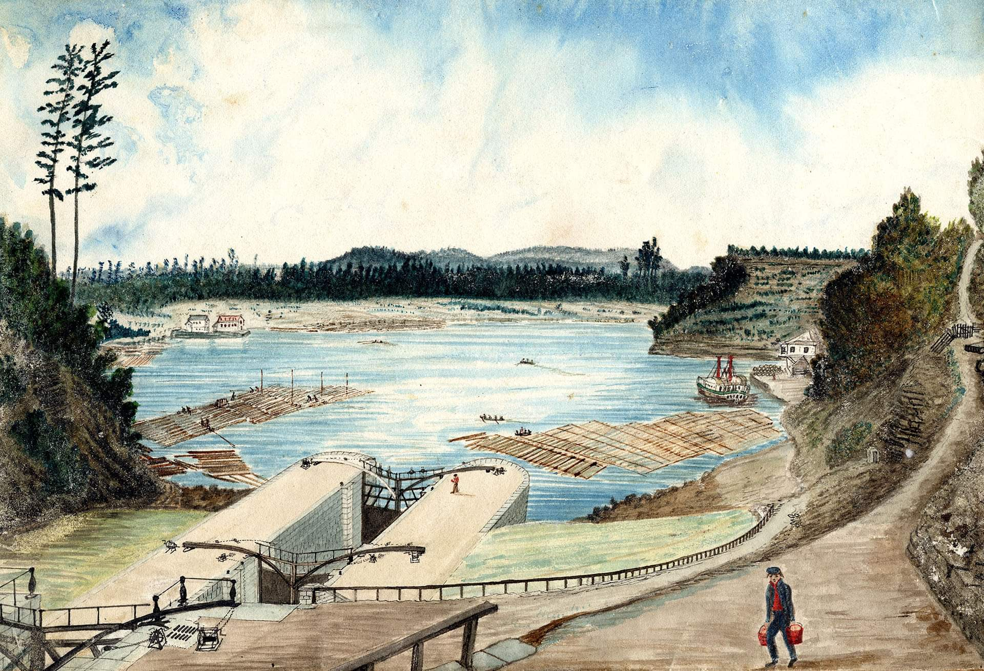 North Entrance of the Rideau Canal from the Ottawa River, 1845